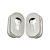 Oválná rozeta na cylindrickou vložku (64x35 mm), bal.: 1 pár, broušená nerez K320 / AISI304, spodní část pozink