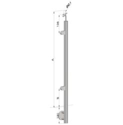 Nerezový sloup, boční kotvení, výplň: sklo, levý, vrch nastavitelný (ø42,4x2 mm), broušená nerez K320 / AISI316 - 1