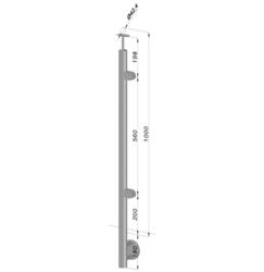Nerezový sloup, boční kotvení, výplň: sklo, pravý, vrch pevný (ø 42,4x2 mm), broušená nerez K320 / AISI316 - 1