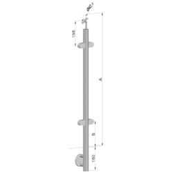 Nerezový sloup, boční kotvení, výplň: sklo, průchozí, vrch nastavitelný (ø 42,4x2 mm), broušená nerez K320 / AISI316 - 1