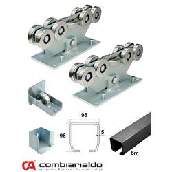MEDIO-9 samonosný systém 98x98x5 mm pro posuvné brány do 500 kg / 8,5 m otvor (C399M/Fe 1x 6 m černý profil, C3999M 2ks, C396M 1ks, C397M 1ks), intenzivní provoz