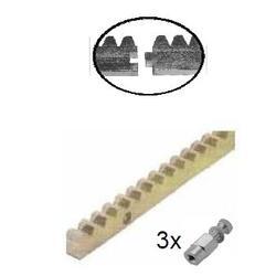 Hřeben kovový 30 x 12 mm, L - 1000 mm, M4, maximálně do 2200 kg, 3x úchyt+šrouby, pozinkovaný se zámkem