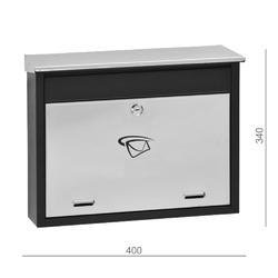Poštovní schránka (400x340x100mm) nerez / černá, max. formát listu: C6, le