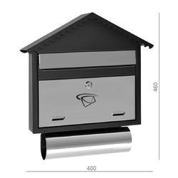 Schránka poštovní (400x460x75mm) nerez / černá, max. formát listu: C4, le