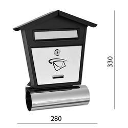 Poštovní schránka (280x330x75mm) nerez / černá, max. formát listu: B6, le