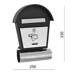 Poštovní schránka (250x350x50mm) nerez / černá, max. formát listu: B6, le