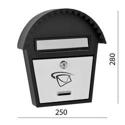 Schránka poštovní (250x280x50mm) nerez / černá, max. formát listu: B6, le