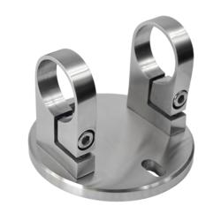Úchyt na boční kotvení sloupu ø 42,4 mm, (kotevní deska ø 120 /10,0 mm), broušená nerez K320 / AISI304