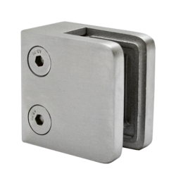 Svorka skla / plechu plochá (45x45x26 mm), bez uch. šroubu a krytek na šrouby, broušená nerez K320 / AISI304, balení neobsahuje gumičky na sklo - 1
