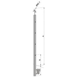 Nerezový sloup, boční kotvení, 4 děrový průchodný, vrch nastavitelný (ø 42,4x2 mm), leštěná nerez /AISI304 - 1