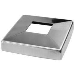 Kryt spodní příruby (108x108 / 25x1.5 mm), otvor: 40.5x40.5 mm, na profil 40x40 mm, broušená nerez K320 / AISI304 - 1
