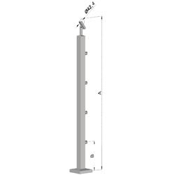 Nerezový sloup, vrchní kotvení, 4 řadový průchodný, vrch nastavitelný, (40x40 mm), broušená nerez K320 / AISI304 - 1