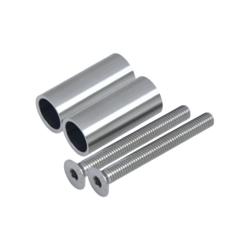 Přechod na vymezení vzdálenosti mezi sloupem (plochý) a kotevní deskou, ø 20x2,0 mm /L:45 mm, vnitřní šroub: M8x70 mm, broušená nerez K320 / AISI304, bal: 2ks - 1
