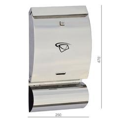 Poštovní schránka (250x470x65 mm), max. formát listu: C4, leštěná nerez / AISI430