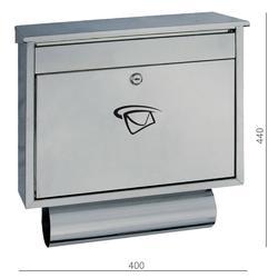 Poštovní schránka (400x440x100 mm), max. formát listu: C4, leštěná nerez / AISI4304