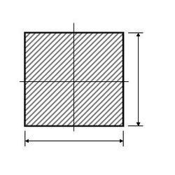 Čtyřhran plný 25 x 25, hladký, L = 6000 mm, cena za 1 bm