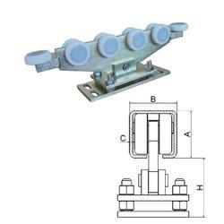 Vozík regulovatelný pro C-profil 80x80x5 mm, polyamidová kolečka 10 ks, žlutý zinek, pro bránu do 800 kg, průjezd do 10 m