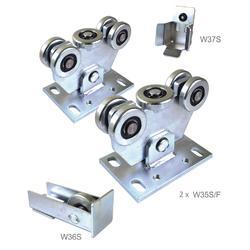 Set pro samonosný systém 60 x 60 x 4 mm, 2x vozíky, 1x doraz, 1x náběhové kolečko