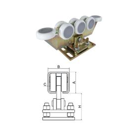 Vozík regulovatelný pro C-profil 80x80x5 mm, polyamidová kolečka 8 ks, žlutý zinek, pro bránu do 600 kg, průjezd do 7 m