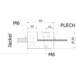 Svorka plechové výplně 1,5-2,5 mm plochá (ø 25 mm), broušená nerez K320 / AISI304 - 2