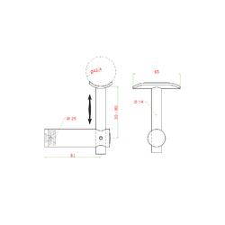 Držák madla pevný, plochý na jekl, broušená nerez K320 / AISI304 - 2