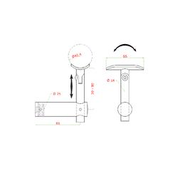 Držák madla s kloubem, plochý na jekl, broušená nerez K320 / AISI304 - 2