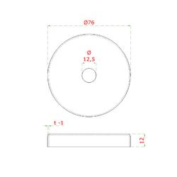 Kryt (ø 76 / 12 mm) otvor ø 12.5 mm, broušená nerez K320 /AISI304 - 2