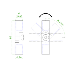 spoj nastavitelný ø 12mm (0-100 °) s kloubem, broušená nerez K320 / AISI316    - 2