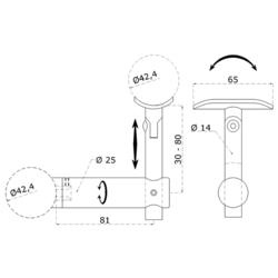 Držák madla s kloubem na trubku ø 42.4 mm, broušená nerez K320 / AISI304 - 2