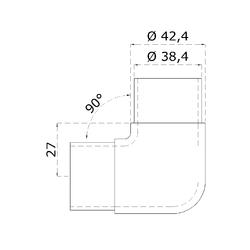 Spojka - rohová 90° na trubku ø 42,4 mm, broušená nerez K320 / AISI316 - 2