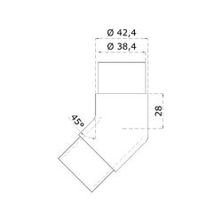 Spojka - rohová 45° na trubku ø 42,4 mm, broušená nerez K320 / AISI316 - 2
