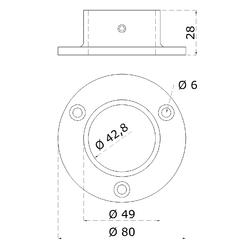 Příruba madla (ø 80x25 mm) na trubku ø 42.4 mm, broušená nerez K320 /AISI304 - 2