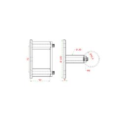 Úchyt na boční kotvení sloupu ø 42.4 mm, (kotevní deska ø 100/8.8 mm), broušená K320 / AISI304 - 2