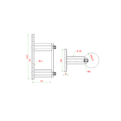 Úchyt na boční kotvení sloupu ø 42.4 mm, (kotevní deska 120x60x10 mm), broušená K320 / AISI304 - 2