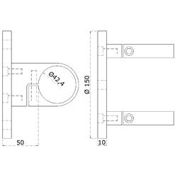 Úchyt na boční kotvení sloupu ø 42.4 mm, (kotevní deska ø 150 / 10 mm), broušená K320 / AISI304 - 2
