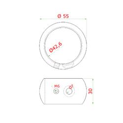 Spojka - napájecí (ø 55 mm / M6 / M10), na trubku ø 42.4 mm, broušená nerez K320 / AISI304 - 2
