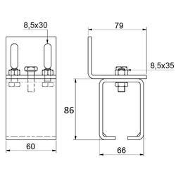 Držák boční pro profil závěsného systému Combi Arialdo C920G - 2