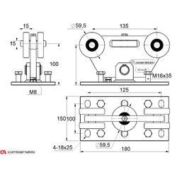 Set pro samonosný systém PICCOLO 67 x 67mm, 2x vozík C395Piccolo Klasic, 1x náběh. kolečko C396Piccolo, 1x doraz C397P, 1x krytka C398P - 2