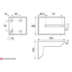 Držák dojezdové kapsy pro posuvné brány 80 x 80 x 150 mm, Combi Arialdo - 2