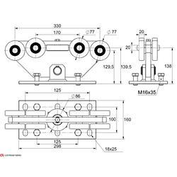 Vozík pro samonosný systém Combi Arialdo do 1000 kg, 9 kolečkový - 2