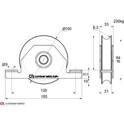 Kladka  ø 100 mm pro zapuštění do jeklu Combi Arialdo, U16 profil, nosnost 230 kg - 2