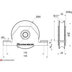 Kladka ø 80 mm pro zapuštění do jeklu Combi Arialdo, U20  profil, nosnost 200 kg - 2