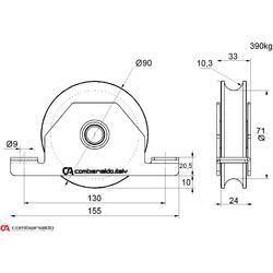 Kladka pro zapuštění do jeklu dvouložisková Combi Arialdo, U profil, nosnost 390 kg - 2