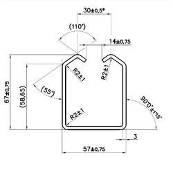 Mono kolejnice GRANDE 57 x 68 x 3 mm pro závěsný systém Combi Arialdo, prodávané pouze ve 2 m, 3 m a 6 m délkách - 2