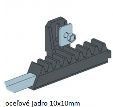Hřeben nylon-kov 30 x 20 mm, 6x úchyt + šrouby,  1000 mm, do 600 kg - 2