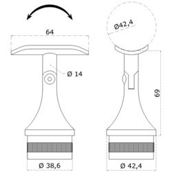 Držák madla s kloubem na trubku ø 42.4 mm (69x64 mm), broušená nerez K320 / AISI304 - 2