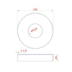 Kryt příruby (ø 105 / 18 mm) na trubku ø 42.4 mm (otvor ø 43 mm), broušená nerez K320 / AISI304 - 2