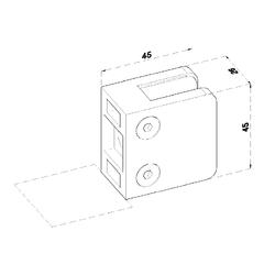 Svorka skla / plechu plochá (45x45x26 mm), bez uch. šroubu a krytek na šrouby, broušená nerez K320 / AISI304, balení neobsahuje gumičky na sklo - 2