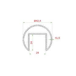 Uvedená cena za délku 2500 mm, madlo (ø 42,4x1,5 mm / 24x24 mm), pro sklo 8-17,5 mm, bez gumových těsnení, broušená nerez K320 /AISI304 - 2