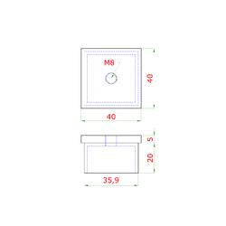 Ukončení na jekl 40x40x2.0 mm, závit M8, broušená nerez K320 / AISI304 - 2